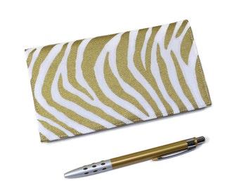 Gold Metallic Checkbook Cover for Duplicate Checks with Pen Holder, Zebra Print Cotton Duck Fabric