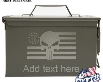 US Punisher 3 Percenter Custom Engraved 30/50 Cal Ammo Can Personalized Dad Gift Guy Gifts Father's Day Gift Grandpa Gift Groomsmen Hunter