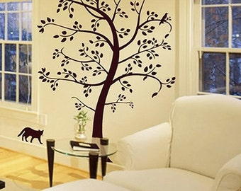 HUGE TREE 80INCHES H KITTEN----Removable Graphic Art wall decals stickers home decor