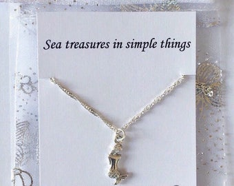 Silver Mermaid Necklace with Quote, Little Mermaid Necklace, Personalised Quote Gift, Friend Keepsake, Friendship Gift, Gift For Her