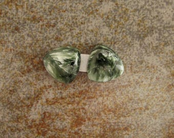 Pair small triangular matching Seraphinite cabochons. Green and white crystallization. 12 x 12 mm.  118L0047 great for earrings or dangles