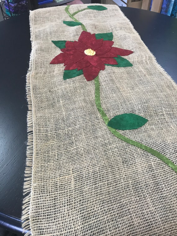 Jute Table Runner Appliqué Burlap Handmade