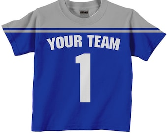 Football Jersey Shirt - Boy's Personalized Football T-Shirt, Any Team Colors, Sport Birthday Shirt