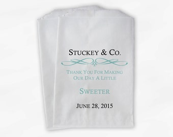 Custom Wedding Candy Buffet Paper Treat Bags Personalized - Robins Egg Blue Favor Bags with Name and Wedding Date (0044)