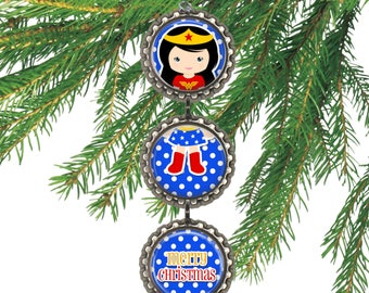 DC Comics WONDER WOMAN Super Hero 3D Bottle Cap Christmas Ornament | Gift for Kids Stocking Stuffer