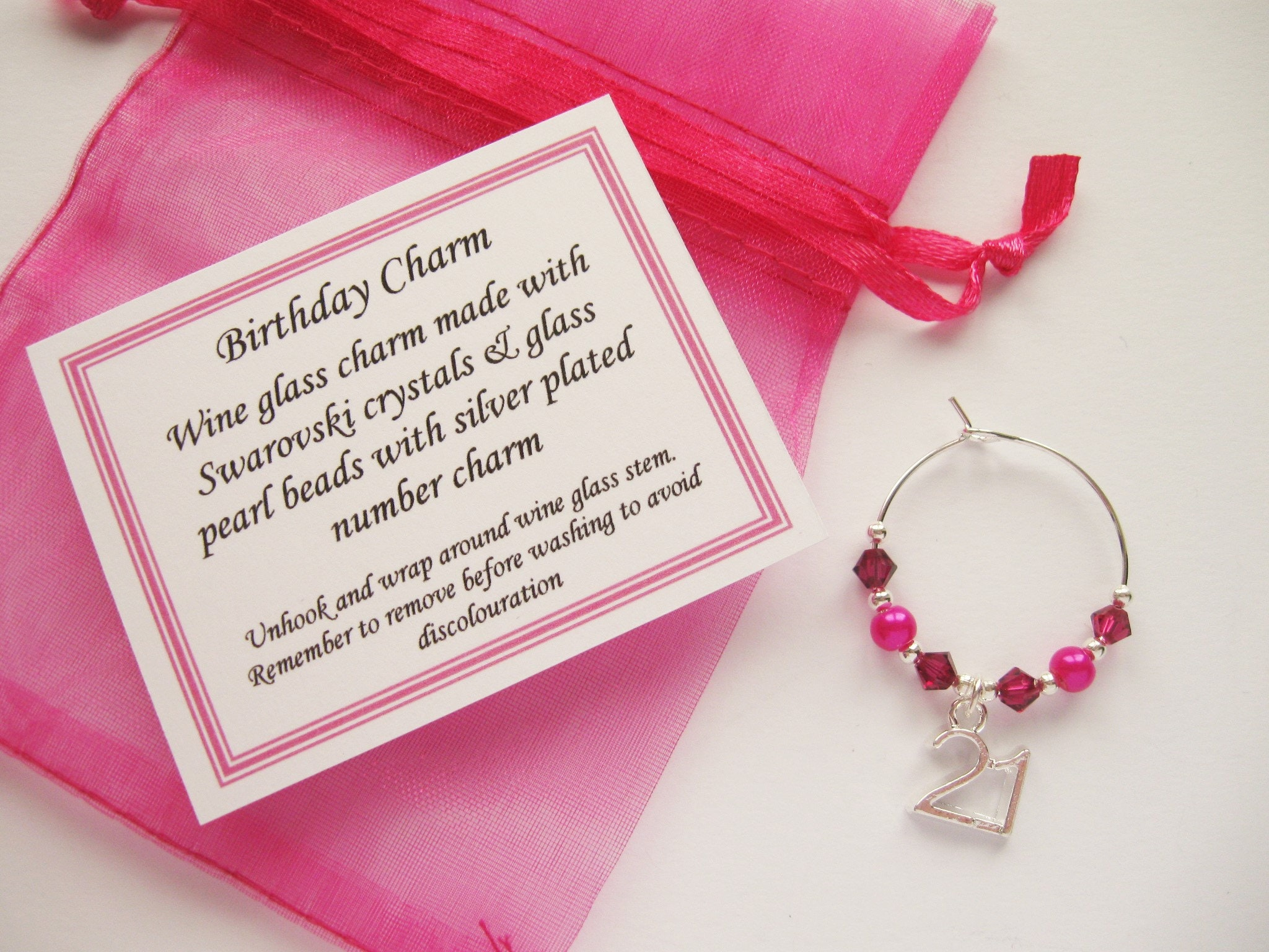 Birthday Fushia / Hot Pink Wine Glass Charm
