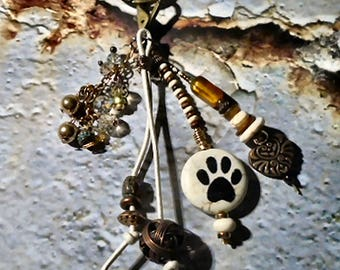 Animal Lover Key Chain - Purse Charm - Sun Catcher - Copper -Brass, Bone, Quartzite Lentil Women -Teen Handmade, Faceted Crystals,