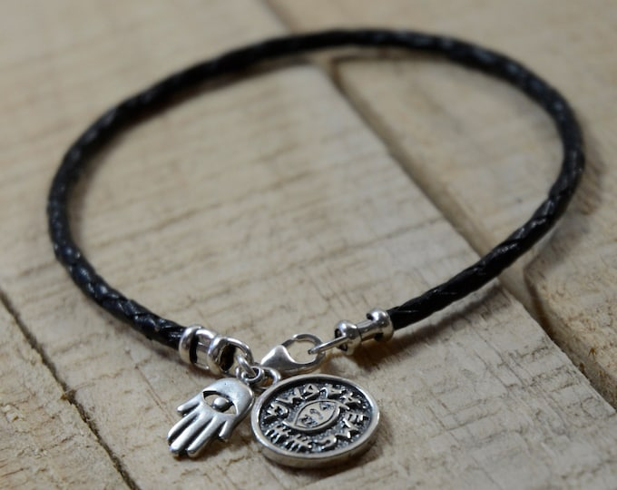 Unisex Braided Leather Bracelet with Sterling Silver Protection Coin Amulet & Hamsa Hand