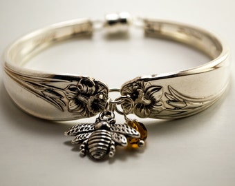 """Spoon Bracelet, Original 1950 """"Daffodil"""" pattern,Vintage Silverplate, all sizes available"""