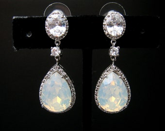 wedding jewelry bridal earrings christmas prom bridesmaids Clear teardrop cubic zirconia teardrop swarovski white opal crystal oval cz post