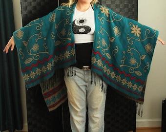 wool hippie coat wrap tapestry design odd mod art hippie scandinavian