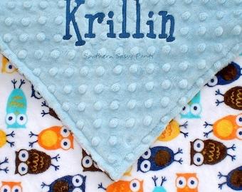 Personalized Toddler Blanket , Owl Blanket for Boys, Owl Minky and Minky Dot Blanket - 36x40