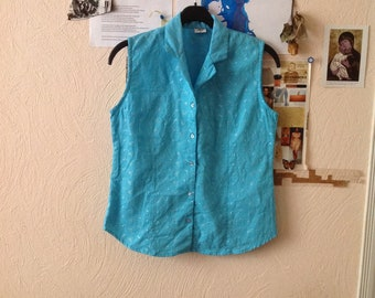 Light Blue Sleeveless Blouse Embroidered Small Medium