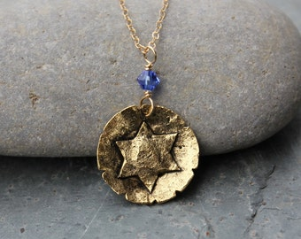 Ancient Hexagram Star of David charm necklace - Sapphire Swarovski crystal or birthstone colors, 14k gold filled chain - free shipping USA