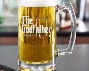 Personalized Godfather Gift, 25oz Beer Mug, Beer Glass Elegant Will You Be My Godfather Gift, Baptism Gift, For The Godfather, Godparents