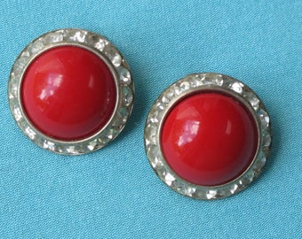 1950s Earrings Red Plastic Cabochons Sparkling Clear Rhinestone Borders Silver Tone Clip Backs