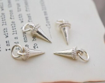 4 pcs sterling silver spike charm pendant  , NR1