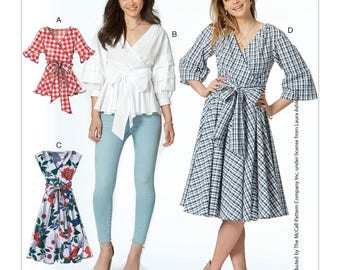 McCall's Pattern M7627 Misses' Wrap Tops and Dresses with Waist Tie