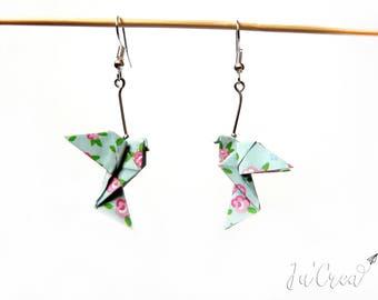 Origami Dove blue flower earring