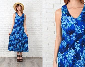 Vintage 80s 90s Blue Maxi Dress Grunge Cutout Back Sleeveless Floral Print S 11397