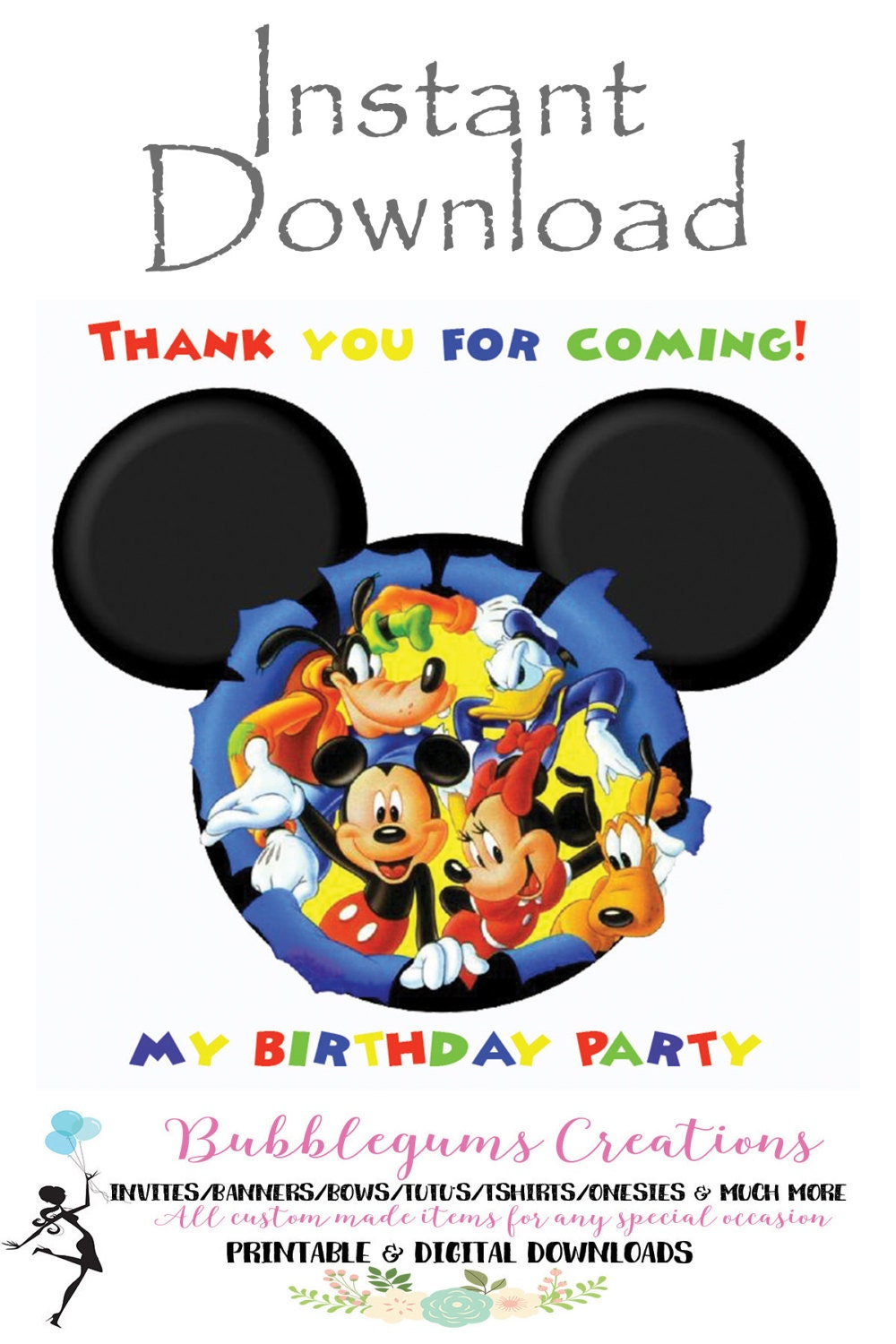 Thank You Cards Mickey Mouse Urgup Kapook Co