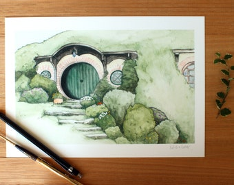 Hobbit Hole Giclee Print A4. Lord Of The Rings.