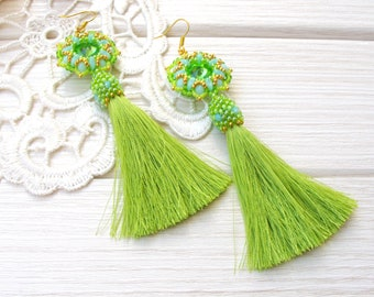 Green chartreuse tassel earrings, light blue Romantic tender fringe boho gypsy earring, Exclusive handmade summer jewelry, long statement