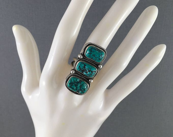 Featured listing image: Triple Stone Turquoise Nugget Ring Vintage Natural Fox Turquoise in Sterling Silver with Split Band Size 5.75 Statement Ring