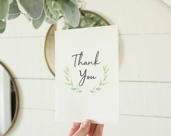 Thank You Card | Watercolor Greenery Card | Wedding Card |  | Greeting Card | Graduation Card