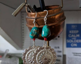 Sterling Silver Concho Earrings, Turquoise, 925, Concho, Southwest, Native American, Made in USA