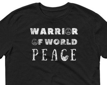 Peace Warrior Tees, Peace Sign, World Peace, Peace on Earth -Sleeve T-Shirt