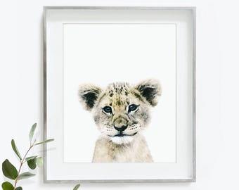 Baby Lion Print, Lion Cub, Baby Lion Painting, Lion Watercolor, Safari Nursery, Nursery Printable, Digital Download, Lion Art Print