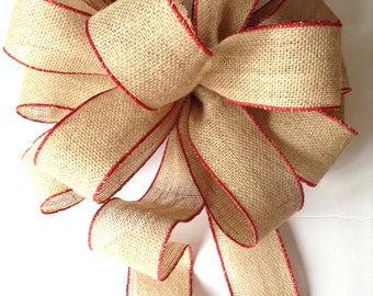 Christmas Burlap Tree Topper / Burlap Decorative Bow / Xmas Tree Topper / Burlap and Red Christmas Bow / Handmade and Design in Wired Ribbon