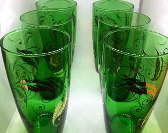 Vintage Emerald Green Glasses with Gold Swirl Leaf Set of 6