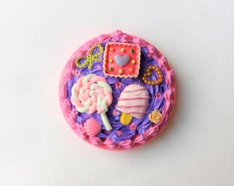 Creamy Pink & Purple Lollipop Sugar Candy Sweet Treats Compact Mirror - Kawaii Lolita Pastel Goth Decora Fairy Kei Harajuku Cute Fashion