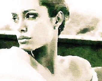 Angelina Jolie, Celebrity Painting, Celebrity Portrait, Celebrity Art Print, Sensual Painting, Sensual Art, Sensual Woman Art