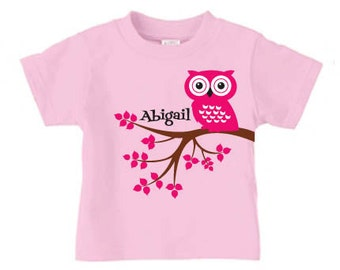 Personalized cute owl t-shirt for girls, birthday  shirt for girls holiday gift