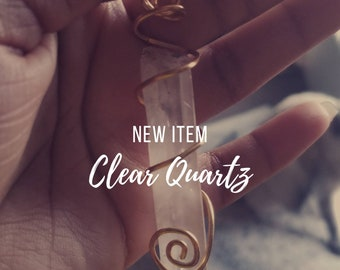 Simple & Sassy Clear Quartz Crystal Necklace, hand wrapped