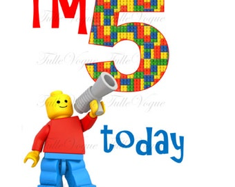 Personalized Birthday Boy IRON ON TRANSFER - Lego - any name any number - I'm 5 today
