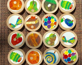 The Very Hungry Caterpillar Matching Game XL + Travel Bag, Wooden Matching Game, Toddler Preschool Game, 24 piece