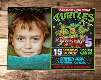 Teenage Mutant Ninja Turtles Photo Invitation, TMNT Birthday Invitation, Ninja Printable Party Invitation, Kid Birthday Invitation N127
