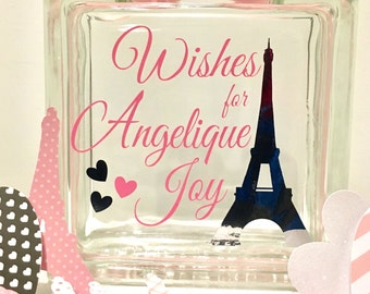 "Baby Shower Guest Book Wish Block - Glass Block with ""Wishes for ... with babies name- Eiffel tower and hearts- Paris theme!"