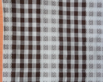 Fabric...Gingham with embroidered stripe, brown and white gingham
