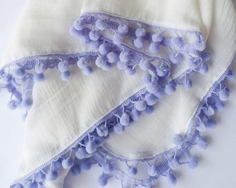 White w/lilac purple pompoms, single layer swaddle, muslin gauze