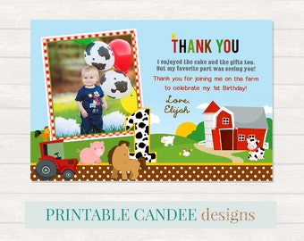 Farm Thank you, Tractor Party Thank you, Farm Animal Thank you, Farm 1st Birthday, Photo thank you card, Printable DIY