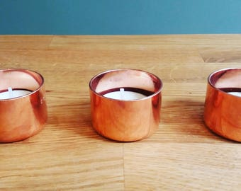 Copper tealight holders, tealight,  copper home decor, dining table decoration,  candle holder, 7 year anniversary, wedding favours