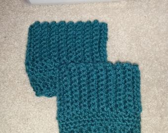 Teal Boot Cuffs - Winter, Crocheted Boot Cuffs, Short Leg Warmers, Boot Toppers,