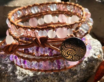 4 Wrap Leather Bracelet with AAA Rose Quartz and Spring Mix Crystals