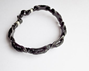 Men's Black Bicycle Chain Link and Leather Bracelet , Upcycled Bike Jewelry