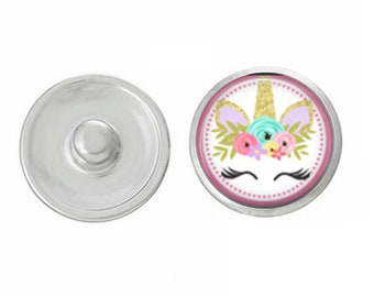 Unicorn Snap - Pick One or The 5 Pack - Compatible with Gingersnaps - Magnolia and Vine - Noosa 18-20mm Base - Handpressed Snaps